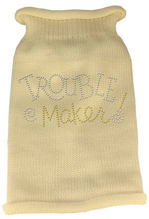 Trouble Maker Rhinestone Knit Pet Sweater LG Cream